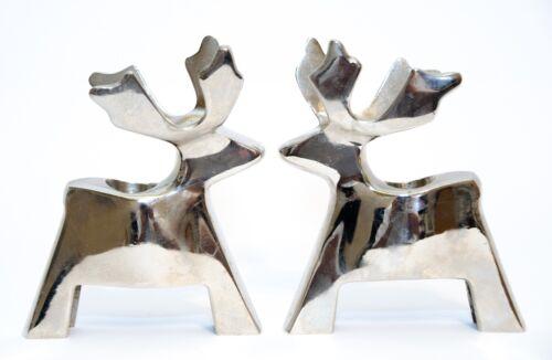 Vintage Pair of Silver Deer Reindeer Candle Holder Chrome