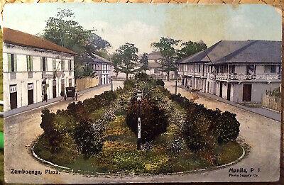 Manila, PHILIPPINE ISLANDS, Post Card, 1911 ZAMBOANGA PLAZA, Philippines