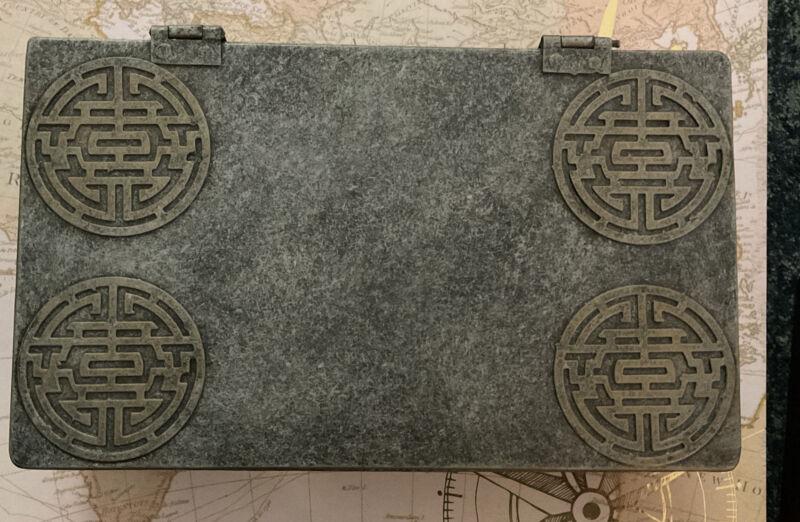 Vintage Asian Metal Trinket / Storage Box -Raised Symbols .Green/Grey W/Gold