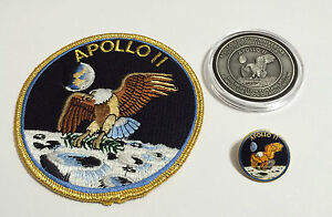 Apollo-11-Coin-Contains-Metal-Flown-To-Moon-Patch-Pin-Medallion-NASA-Space