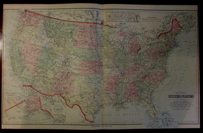 United States by F.A. Gray 1879 large lovely lithographed hand color