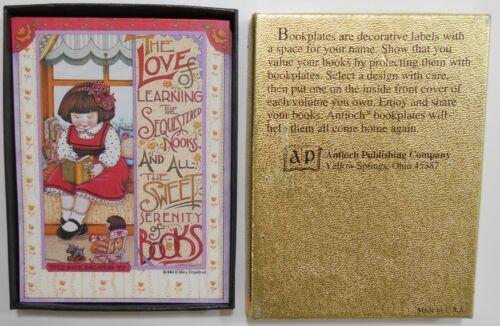 Antioch Bookplate Pub. Company Box Set 17 Labels MARY ENGELBREIT Girl Reading