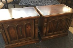 2 Vintage Matching Night Tables Requiring TLC makeover