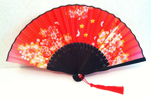 Chinese bamboo Folding Handfan Fan with Printed Cherry blossom and Butterfly red