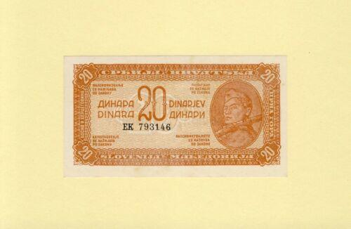 YUGOSLAVIA 20 DINARA 1944 P-51a UNC RARE Ornamented paper, baroque style serial