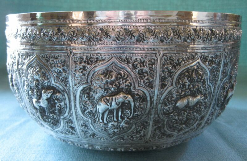 "9"" Antique Songkran Thai Siam Water Festival Sterling Silver Repousse Bowl 405g"