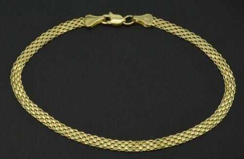 14k Yellow Solid Gold Bismark-Link Bracelet 3.2mm 7.5