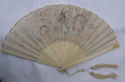 ANTIQUE CHINESE FAN IN ORIGINAL BOX