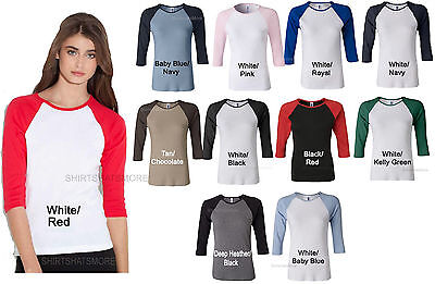 Bella Ladies Baseball 3/4 Sleeve T-Shirt Raglan Womens Tee Juniors Size S-2X NEW - Womens 3/4 Sleeve Raglan Tee