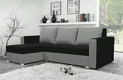 corner sofa bed black Grey  fabric sleeping option storage  living room new!!!