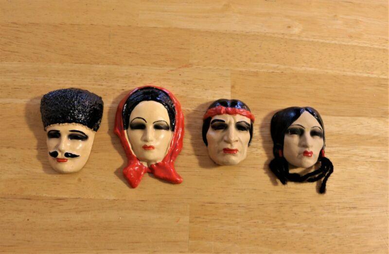 Miniature Ethnic Masks, Man & Woman Russian and Native American Mini Mask Set