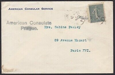 France 1919 stamp 15ct SEMEUSE on cover - AMERICAN CONSULAR SERVICE........A5827