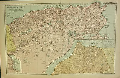 1912 LARGE ANTIQUE MAP ~ ALGERIA & TUNIS ~ ALGIERS MOROCCO