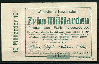 Wandsbeck 10 Milliarden Mark Notgeld vom 25.10.1923