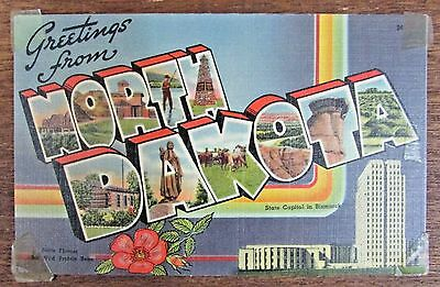 Greetings From North Dakota Vintage Linen Postcard State Capitol etc FREE S/H