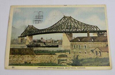 1948 Jacques Cartier Bridge  Montreal Canada Postcard