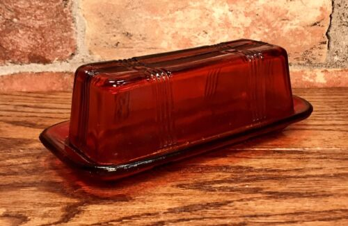 Red/Orange Glass Vintage Crossed-Striped Covered Butter Dish