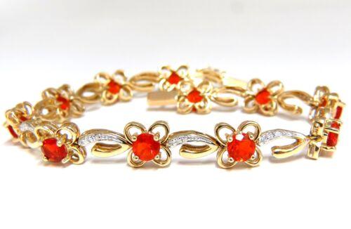 5.36ct Natural Mexican Opal Diamond Bracelet 14kt Clover