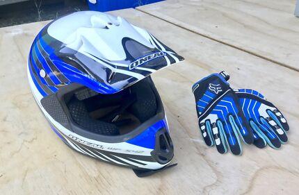 O'Neal motocross helmet size (L) and fox gloves size (M)