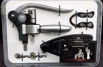 Original Brand 4pc Wine Corkscrew Set/Accessory Kit: Corkscrew Foil Cutter Screw
