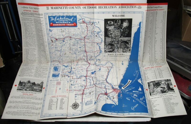 1939 Marinette County, Wisconsin, brochure with map