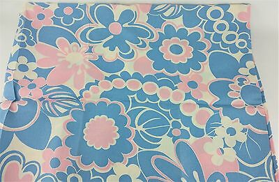 Vintage 1960s Mod Pink White Blue Flower Fabric 2 3/4 Yds Retro Groovy Tropical