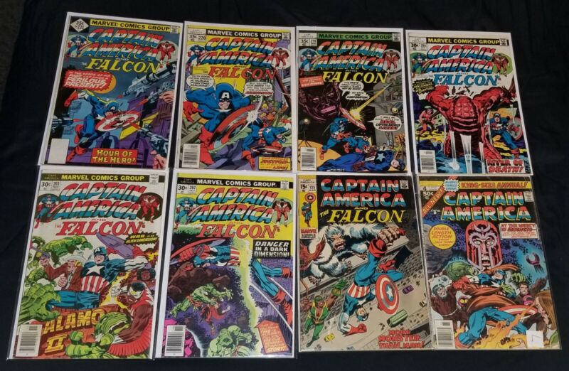 Marvel Captain America vintage silver and bronze age Comic Book Lot of 8