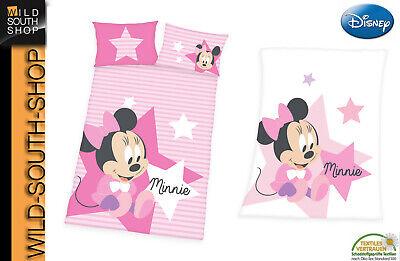 Disney`s Minnie Mouse Baby Bettwäsche 40x60 100x135 + Flauschdecke Neu Herding
