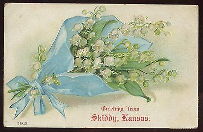 Pennant Greeting Postcard~Skiddy, White City, Kansas KS~DPO~1907