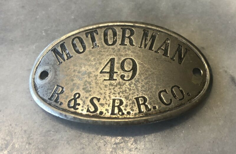 R & S R R CO Motorman Hat Badge Rochester New York