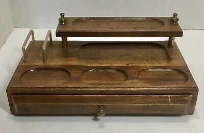 Vintage Home Office Storage Desk Organizer Wooden Desktop