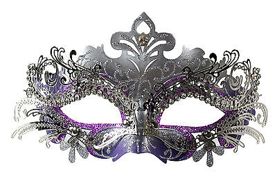 Classy Layer Filigree Masquerade Mask With Clear Rhinestones Silver/Purple