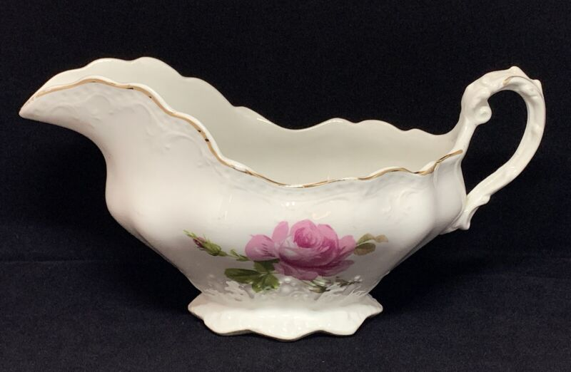Antique Buffalo Pottery Gravy Boat Pink Roses With Gold Trim