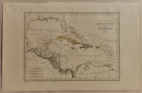 1835 Genuine Antique map West Indies, Cuba, Antilles, Guatemala. Malte-Brun