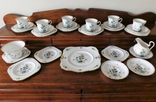 Tuscan Fine Bone English China Tulips & Blossom #308 - Tea & Dessert Service Set