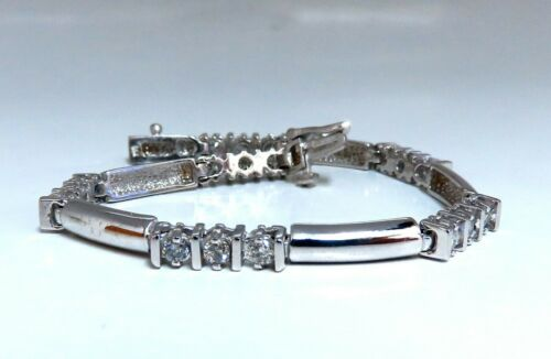 1.30ct Natural Diamonds Long Bar Linked Bracelet 14 Karat
