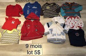 Vêtements de bébé 9 mois, plusieurs lots à 5$
