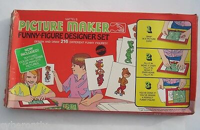 1969 PICTURE MAKER Funny Figure Designer set Near Complete Original Box Mattel