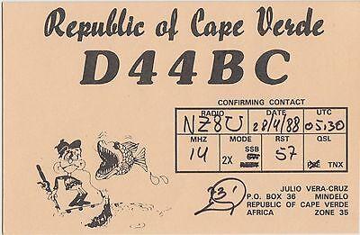 QSL CARD Amateur Radio 1988 REPUBLIC of CAPE VERDE Africa