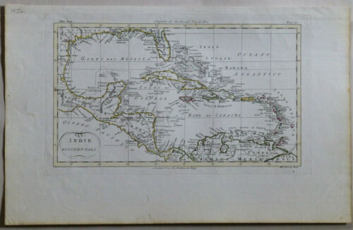 1820 Genuine Antique map West Indies, Cuba, Antilles, Caribbean. L Rossi