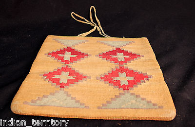 "LARGE 11.5"" Nez Perce Corn Husk Bag, c1890s Great motifs & condition - TWO Sided"