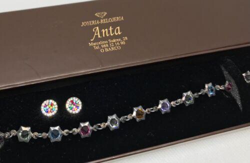 Crystals Silver Bracelet Marked 925 560 AR & Earrings Set Anta Joyeria-Relojeria