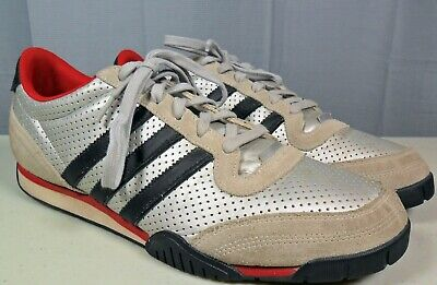 Mens Adidas Low Running Shoes / Sneakers Silver, Red & Black Sz. 13. 3 Stripe