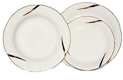 Gold-service Plate (Round Porcelain Dinner Set 18 Piece Ceramic Dinnerware Gold Line Service Plate)