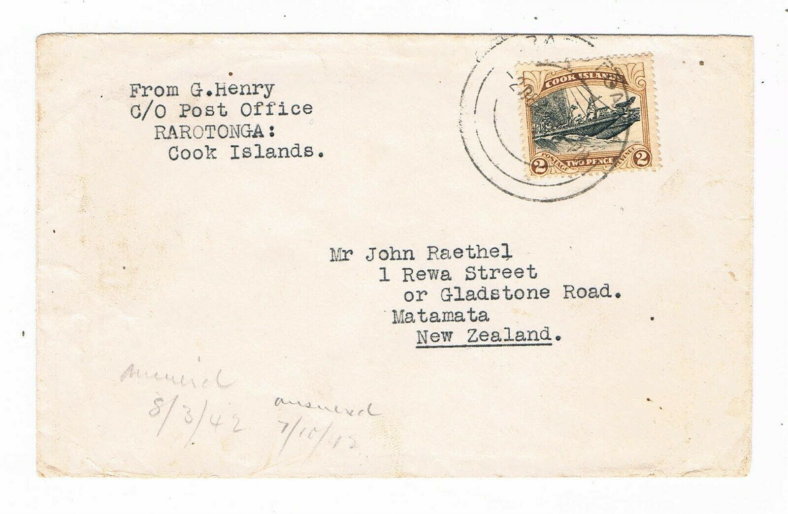 """Cook Is. - 1942 Cover bearing 2d """"Double Canoe"""" to New Zealand - SC 93 [SG 108]"""