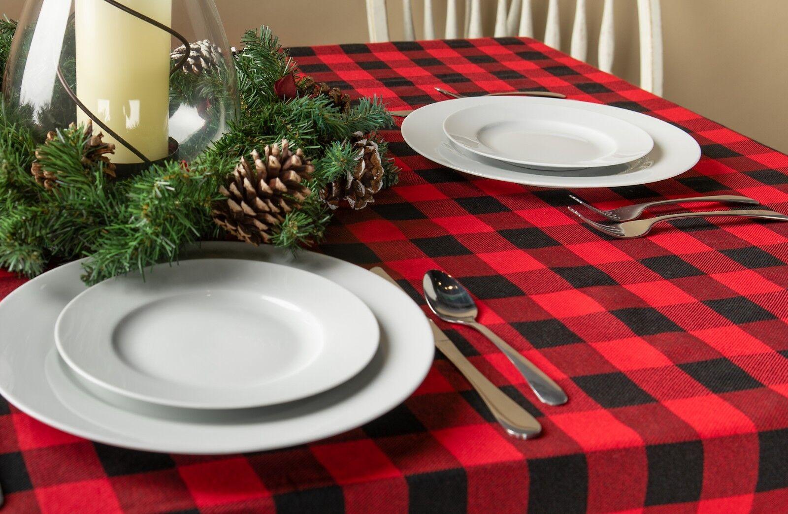 New Buffalo Check Lumberjack Plaid Vinyl Tablecloth 52 X 70