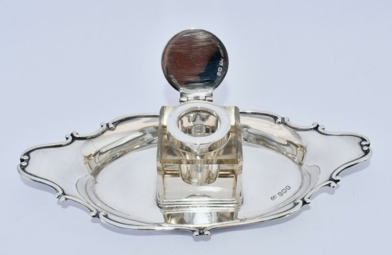 1916 Crystal and Sterling Silver Inkwell Stand by Robert Pringle - Desk Ink Well
