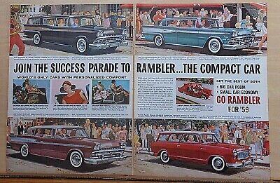 1958 two page magazine ad for Rambler - Ambassador, Rebel, station wagons parade segunda mano  Embacar hacia Argentina