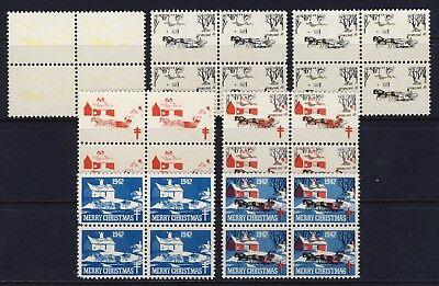 1942 USA Christmas Seal Progressive Proofs BLOCKS (7) . Mint Never Hinged