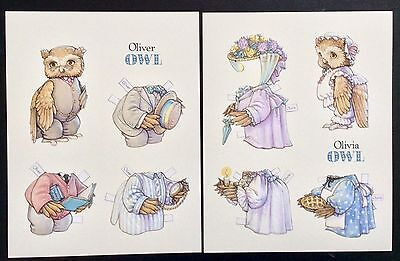 Olivia and Oliver Owl Embossed Large Sized Paper Doll Post Cards, Kathy Lawrence